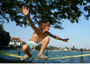 Your kids will have fun for hours on a slackline.
