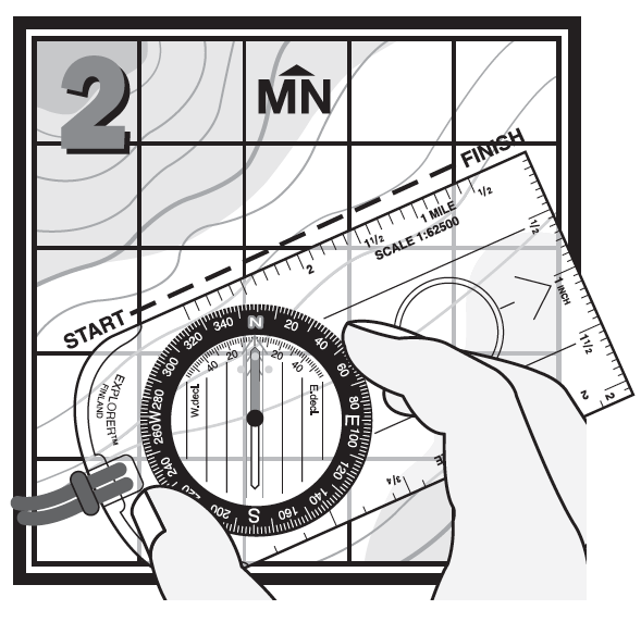 "2. Set the compass heading by turning the compass Dial until the ""N"" on your compass aligns with Magnetic North on the map."