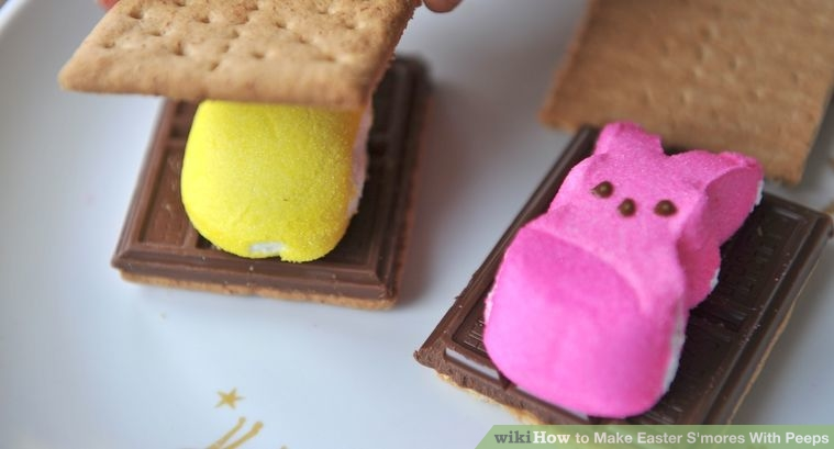 Step 4: Cover the S'more with the remaining piece of graham cracker to form a chocolate and Peep sandwich.